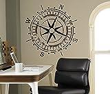 Compass Rose Wall Vinyl Decal Nautical Marine Sea Wall Sticker Home Wall Art Decor Ideas Wall Interior Removable Kids Room Design 5(mrn)