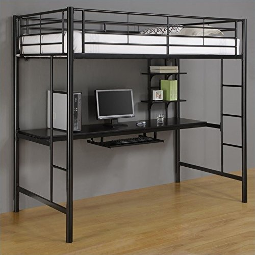 Walker Edison Twin Metal Loft Bed with Workstation, Back