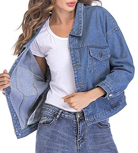 Elegante Donna Giacca Relaxed Libero Moda Primaverile Outwear Tempo Fidanzato Stile Bavero Base Cappotto Blau Ragazze Festa Jeans Coat Lunga Manica Autunno Style OqArqXw