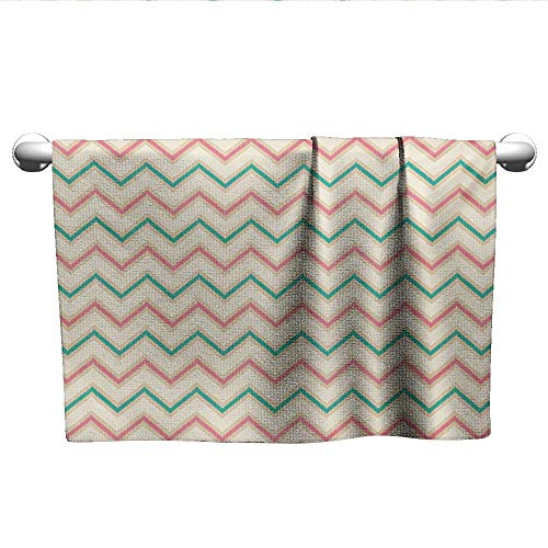 alisoso Chevron,Hair Towels for BoysDigital Chevron Forms with Technical Elements Old Military Insignia Print Absorbent and Super Soft Towels Pink Cream Green W 20