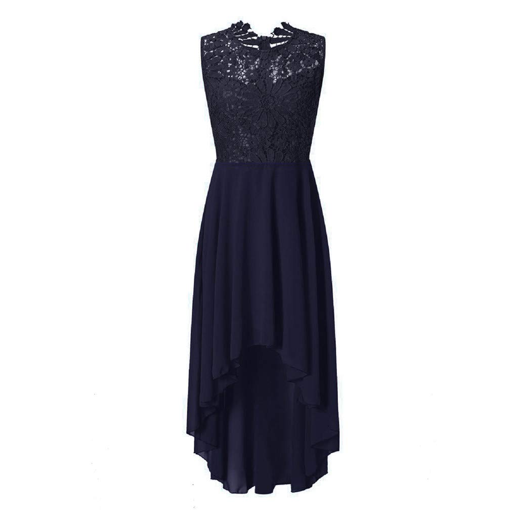 Mysky Women Popular Elegant Floral Lace Irregular Hem Pure Formal Wedding Dress Classic Sleeveless Slim Party Dress Navy