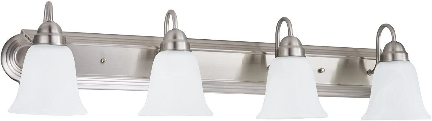 Sunnyfair 4 Bathroom Vanity Light Bar Bath Fixture, Brushed Nickel with Alabaster Glass, UL listed