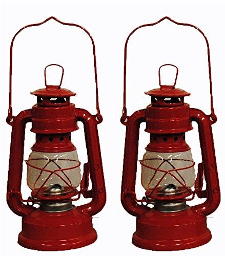 Red Hurricane Kerosene Oil Lantern Emergency Hanging Light / Lamp - 8 Inches (2)