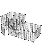 SONGMICS dierenkooi 2 verdiepingen, doe-het-zelf klein huisje met deur, konijnenhok, hamster, konijn, cavia, metalen rooster, voor binnengebruik, 143 x 73 x 71 cm, zwart LPI06H