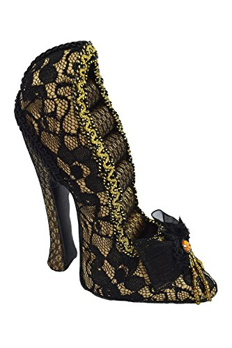 Gold Victorian Cabaret Black Lace Shoe Ring Holder