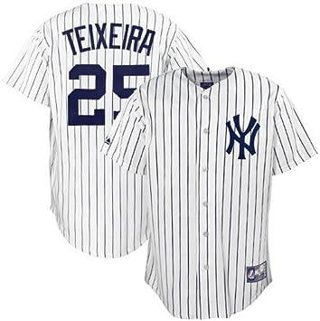 MLB New York Yankees Youth, Mark Teixeira 25 réplica de la Camiseta, Color Blanco/Azul Marino Pin Stripes, Niños, White/Navy Pin Stripes, Medium: Amazon.es: Deportes y aire libre