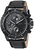 Relic Men's Heath Stainless Steel and Leather Casual Watch, Color: Black (Model: ZR15939)