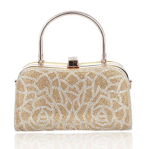 Damara Womens Shining Double Handle Rhinestones Tote Bag,Gold by Damara