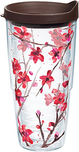 Tervis 1167540 Springtime Blossom Tumbler with Wrap and Brown Lid 24oz, (Tervis Tumbler Flowers)