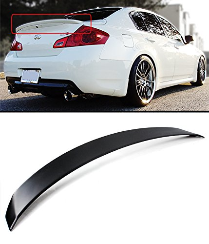 Cuztom Tuning Fits for 2007-2015 Infiniti G35 G37 Q40 4 Door Sedan JDM VIP Rear Trunk Spoiler Lid - Black Primer