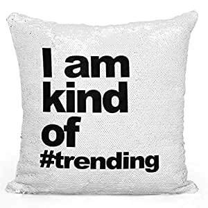 """Sequin Throw Pillow Iam Kind Of Trending Trending Hashtag Pillow Printed White Silver Sequin - 16"""" x 16"""""""