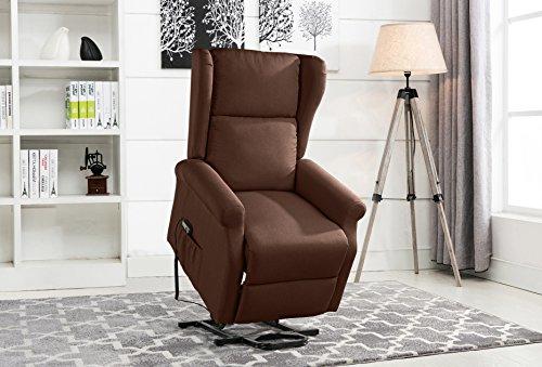 Power Recliner Chair, Lift Chairs, Linen Living Room Reclining Armchair (Dark Brown)