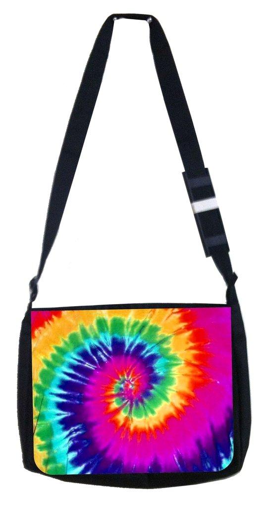Bright tie dye Rosie Parker Inc TM Medium Sized Messenger Bag 11.75 x 15.5 and 4.5 x 8.5 Pencil Case SET