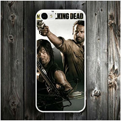 (WHITE) Walking Dead Rick Daryl Hard Phone Case Cover For iPhone 4 4s 5 5c 5s 6 6s Plus (IPHONE 6/6S PLUS)