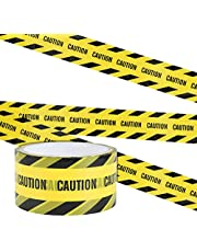 Irich Yellow Warning Tape, CAUTION Adhesive Barricade Tape with Bold Black Font, Text Maximum Readability for Workplace, Danger Areas (25M x 4.8CM)