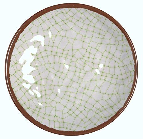 Melange 6-Piece 100% Melamine Salad Plate Set (Hammered Checks Collection)   Shatter-Proof and Chip-Resistant Melamine Salad Plates   Color: Lime
