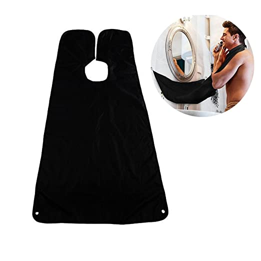 Fomei Beard Apron,Beard Catcher Apron Bib Beard Shaving Cape with Mirror Suction Cups and Adjustable Neck Straps for Men Trimming, Hair Clippings,Grooming, Perfect Gift for Father boyfriend (Black)