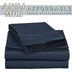 Anili Mili's Triple Stitch Embroidery Affordable 4 PC Bed Sheet Set - Queen Size, Navy Blue