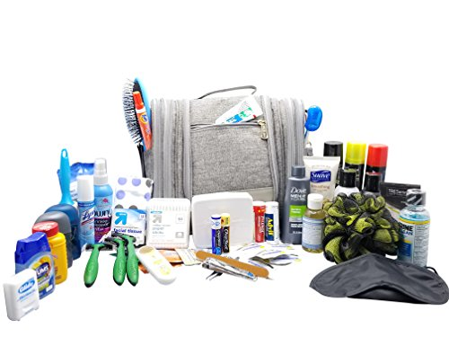 Ultimate Travel Toiletry Bag - Complete Kit Packed With HUGE Number Of Popular Toiletry Supplies. Water Resistant Hanging Toiletry Kit and Items are 100% TSA Approved. Attractive Organizer Case for Me by DM Dealz LLC