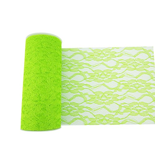 OneD 6 inch 10 Yards Vintage Lace Roll Netting Fabric Tulle Roll For Tutu Skirt Table Runner Chair Sash DIY Wedding Party Art Decor (Green)