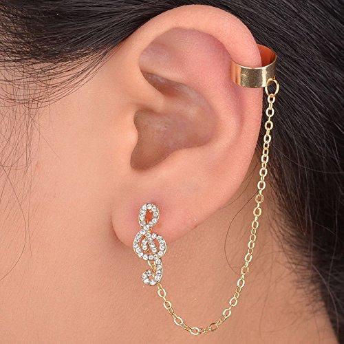 WKShop Great Crystal Stud Earring Music Rhythm Gold Plated Clip Punk Ear Cuff Chain ()