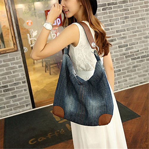 Tote Ladies Handbag Ladies Shoulder Shoulder Big Jeans Handbag 2 Denim Bag Bag Blue Crossbody rrR5Wc8wq