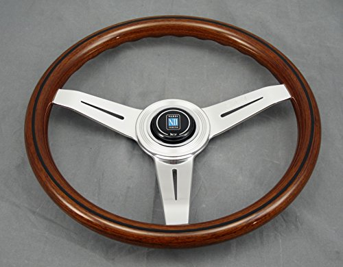Nardi Steering Wheel - Classic - 340mm (13.39 inches) - Mahogany Wood with Glossy Spokes - Aluminum Center Ring - Part # 5061.34.3000