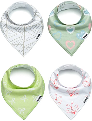Stripes Ribbon Burp Cloths (Baby Bandana Drool Bibs for Girls, 4-Pack Gift Set for Drooling and Teething, 100% Organic Cotton, Soft, Absorbent, Hypoallergenic -
