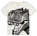 Betusline Kids Boys Short Sleeve T-Shirts Dinosaur Print Tee White
