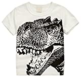 "Betusline Kids Boys Short Sleeve T-Shirts Dinosaur Print Tee ,Off-white,6-7 Years(Height 51.2"")"