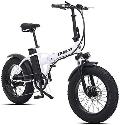 GUNAI Bicicleta Eléctrica 500W 20 Pulgadas 48V 15Ah Neumático Gordo Ciclismo de Playa Bicicleta de Montaña Suspensión Completa MTB Ebike 7 Velocidad Variable(Blanco): Amazon.es: Deportes y aire libre