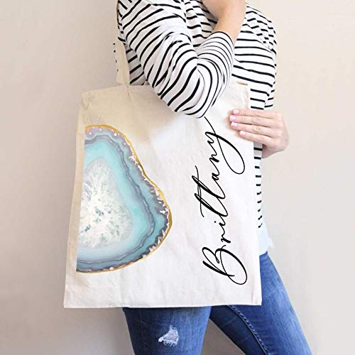 Agate Crystal Style Personalized Name Bag Tote Bags Geode Calligraphy Gift Wedding Bridesmaid Proposal Gift for Bridesmaids