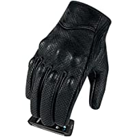 Full finger Goat Skin Leather Touch Screen Motorcycle Gloves Men/Women S,M,L,XL,XXL (Perforated, M)