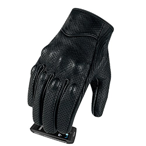 (Full finger Goat Skin Leather Touch Screen Motorcycle Gloves Men/Women S,M,L,XL,XXL (Perforated, L))