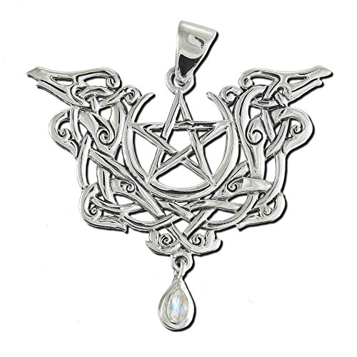 Sterling Silver Viking Knot Dragon Pentacle Pendant with Natural Rainbow Moonstone