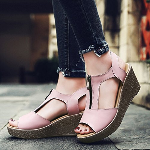 Bottom Roman Size Color Sandals Leisure Shoes Heels Pink Female ZCJB 35 Black Summer High Wedge Thick xFzgY