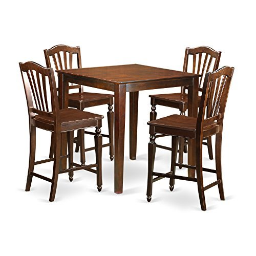 East West Furniture VNCH5-MAH-W 5 Piece Kitchen Dinette Table and 4 Bar Stool Set