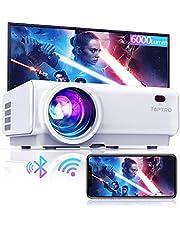TOPTRO Mini-bluetooth-projector, 6000 lumen, met draadloze spiegeling, 200 inch, draagbare projector voor thuisbioscoop, compatibel met tv-stick/tv-box/smartphone/pc/laptop/PS4