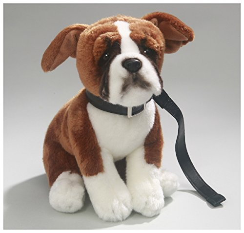 (Carl Dick Boxer Dog with Lead 10.5 inches, 27cm, Plush Toy, Soft Toy, Stuffed Animal 3354)