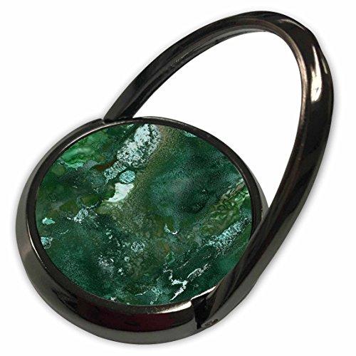 3dRose Uta Naumann Luxury Gemstone Marble Background - Malachite Green and Silver Blush Gemstone Ink Marble - Phone Ring (phr_265465_1)