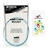 addi Knitting Needle Circular Turbo Rocket Lace White-Bronze Skacel Exclusive Blue Cord 32 inch (80cm) Size US 06 (4.0mm) Bundle with 10 Artsiga Crafts Stitch Markers