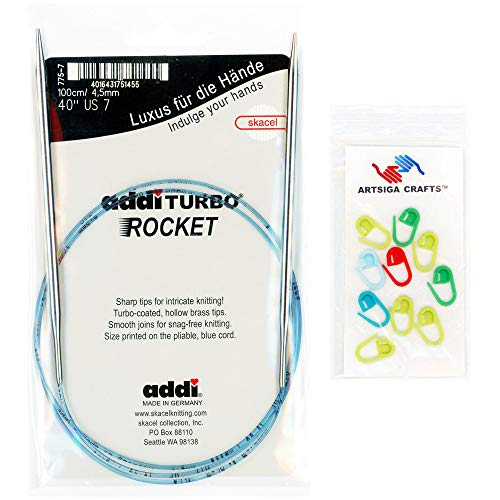 addi Knitting Needle Circular Turbo Rocket Lace White-Bronze Blue Cord 16 inch (40cm) Size US 06 (4.0mm) Bundle with 10 Artsiga Crafts Stitch Markers ()