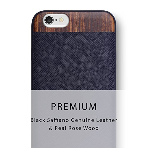 iPhone 6S / iPhone 6 Case. iATO Genuine LEATHER & Real WOODEN Premium Protective Cover. Unique, Stylish & Classy Black SAFFIANO LEATHER & ROSE WOOD Bumper Accessory for Apple iPhone 6S/6
