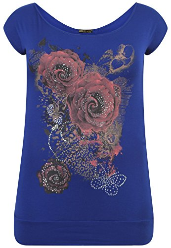 Mesdames beurre Chocolate florale Shirts Encolure Volez T B Royal Hauts Pickle Purple Nouveaux Roses Paillettes xXE4wCA4q