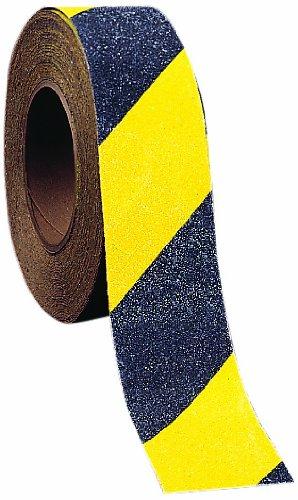 Mutual 17796 Non-Skid Hazard Stripe Abrasive Tape, 60' Length x 2'' Width, Yellow/Black by Mutual Industries