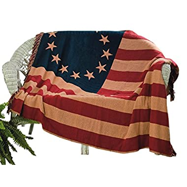 VHC Brands 7616 Old Glory Throw Woven, 50  x 60