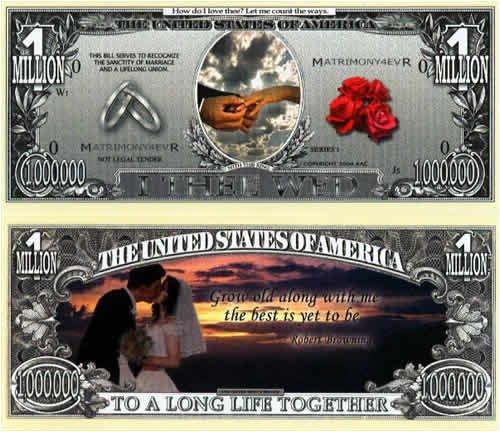 Set of 10 Bills-Wedding Million Dollar Bill by Novelties Wholesale