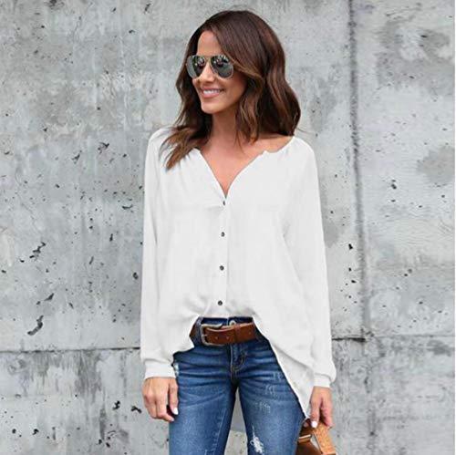 Rond de Chiffon Simple Chemisier Vetement Col Blanc Mousseline Shirt lgant T en Longue Haut Soie Manche wRP0PxaqnS