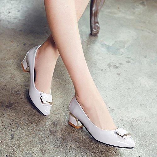 MissSaSa Damen Chunky heel Pointed Toe Pumps mit Blockabsatz Grau