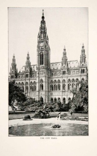 1902 Print Rathaus City Town Hall Vienna Austria Austrian Federal System Landtag - Original Halftone Print from PeriodPaper LLC-Collectible Original Print Archive